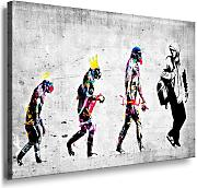 Banksy Evolution, graffito street art su tela già