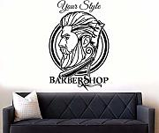 Barbiere Logo Adesivo Murale Hipster Barbiere