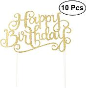 BESTONZON 10PCS Happy Birthday Glitter Cake Topper