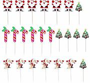 BESTONZON 24pcs Cake Topper Cute Christmas Cake