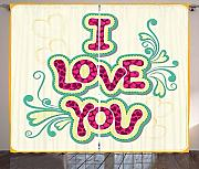 BHWYK I Love You Curtains, Classic Style Pastel