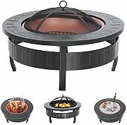 Blackpoolal 3 in 1 Round Fire Pit BBQ Ice Pit da