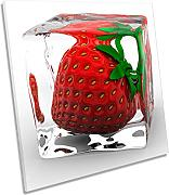 Canvas Geeks Strawberry Ice Cube Kitchen Square
