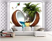 Carta Da Parati 3D Murales 3D Wallpaper Coconut