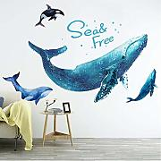 Cartoon Animal Giant Whale Wall Stickers Cameretta