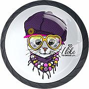 Cat with Violet Hat Yellowes Scarf and Necklace