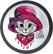 Cat with Violet Hat Yellowes Scarf armadio tira