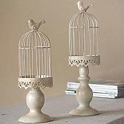 centrotavola Decorativo Vintage di Matrimonio e Confezione da 2 FlYHIGH Lanterna a Gabbia per Uccelli Piccola tealight in Metallo Bianco