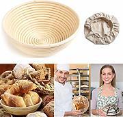 raschietto per impasto cestello Cestino ovale per la cottura del pane in rattan naturale per pasta madre professionale con fodera in tessuto dimensioni 25 x 15 x 8 cm 2 confezioni