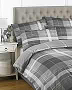 Clubhouse Check Charcoal Super King Duvet Cover Se