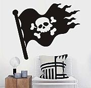 Cmdyz Hollow Out Jolly Roger Wall Sticker per la