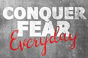 Conquer Fear Motivation Gym Work Quote Stampa