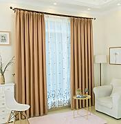 CURTAINS Tende oscuranti semplice e moderno solido color lino lino finestra soggiorno balcone camera da letto bovindo paralume tenda tessuto 【 Hook Up 】, Light Coffee Color, 3.5×2.7M