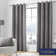 "Curtina, Charcoal, Curtains: 66"" Width x"