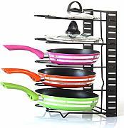 padelle Porte Nero per armadietti Accessori cucchiai Supporto per coperchi di pentole e coperchi da Cucina per mensole da Cucina TOPBATHY