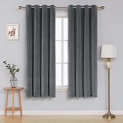 Deconovo Velvet Curtains for Bedroom Tende, Grey,