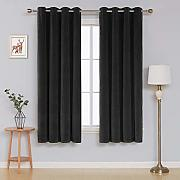 Deconovo Velvet Curtains for Bedroom Tende, Nero,