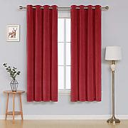 Deconovo Velvet Curtains for Bedroom Tende, Red,