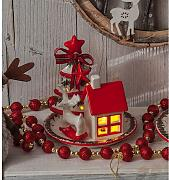 Decorazione Natale Ceramica  Con Led 4 Pz. Ass
