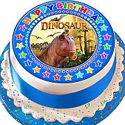 Dinosauro blu Happy Birthday pretagliato