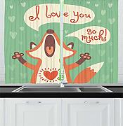 ERCGY Lifestyle Decor Kitchen Curtains, I Love You