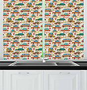 FAFANIQ Cars Kitchen Curtains, Cartoon Style Car