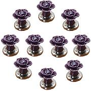 fbshop (TM) 10 pezzi Viola DIY Vintage Rose Flower Ceramica Pomello porta maniglia per cassetto armadio armadio Hardware Home Decor con base argento
