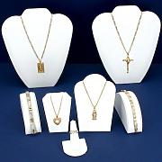 Findingking White Leatherette Jewelry Display