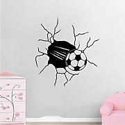 Football Kick Cracked Through The Wall Sticker