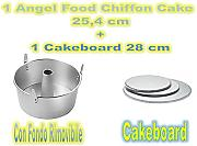 Forma Angel Food,Chiffon Cake in Alluminio Argento, Diametro 25,4 cm + 1 Cakeboard 28 cm - Cdc