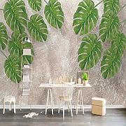 Foto Wallpaper 3D Green Leaf Murale Soggiorno TV