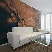 Fotomurale - Gerbera In Marrone 350x270cm Carta Da
