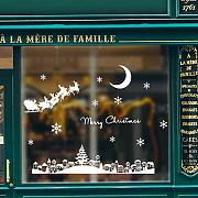 GEYKY Moonlight Town Christmas Wall Sticker per