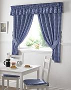 GINGHAM CHECK BLUE WHITE KITCHEN CURTAINS DRAPES
