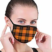 Halloween Tartan Plaid Washable Face Mask with