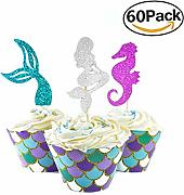 Herefun Sirena Cupcake Toppers e Wrappers, 60
