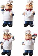 HomeDecTime 4pcs Chef Figurine Cucina Statua Chef