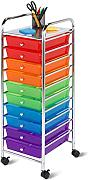 Honey-Can-Do CRT-02214 Carrello Cassettiera Mobile a 10 Cassetti, Metallo, Cromato / Multicolore, 96.01x40.49x45.08 cm