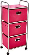 Honey-Can-Do CRT-02348 Carrello di Tela Mobile a 3 Cassetti, Metallo, Cromato / Rosa, 10.16x31.12x45.08 cm