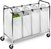 Honey-Can-Do SRT-01158 Robusto Carrello di Smistamento, Metallo, Argento, 93.47x49.50x8.50 cm