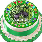 Incredibile Hulk verde Happy Birthday pretagliato