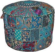 Indian Living Room Pouf, Round Ottoman Stool Pouf,