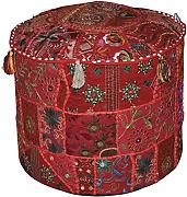 Indian Living Room Red Pouf, Round Ottoman Stool