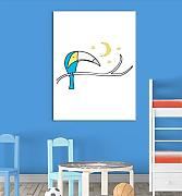 Inspired Walls sonno notte uccello ramo Moon cute