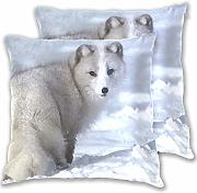 Jereee bianco neve Fox Pillow Covers decorative