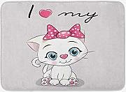 Juziwen Kitten Bath Mat, Cute Cartoon Domestic