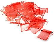 JZK 50 x Rosso 7x9cm sacchetti coulisse organza