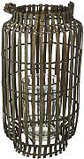 King Home L1766336 Lanterna Bamboo Grey con