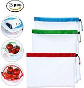 Kobwa 3pcs/set riutilizzabili mesh produce Bags, Premium washable Eco friendly net Storage snack Bags con coulisse, multi-used Kitchen Fruit & Vegetable Keeper giocattoli contenitore