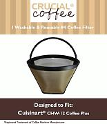 Lavabile e riutilizzabile Coffee Filter # 4 cone Fits Cuisinart chw-12 Coffee Plus 12-cup Programmable Coffeemaker, Designed & Engineered by Crucial Coffee